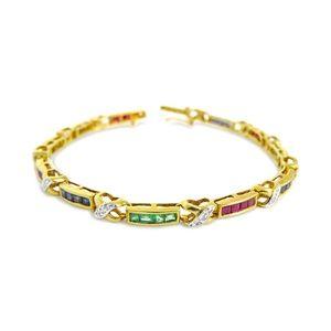 Jewelry - 14 Karat Diamond , Ruby, Sapphire,Emerald Bracelet